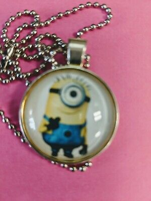 Necklace Round Glass Dome Pendant with chain one eyed Minion NEW