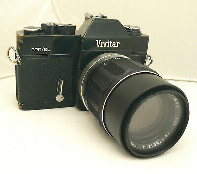 Vivitar 220SL Black Body 35mm Film Camera  Soligor Tele-Auto 135mm f3.5 Lens