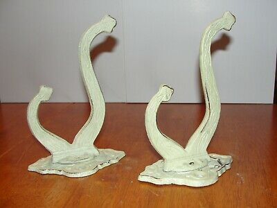 2 Cast Iron Old Painted White Wall Hanging Metal Hook Coat Rack Plant Hanger