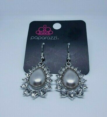 Paparazzi Dangling Silver Tone Earrings With Grey Bead & Rhinestones