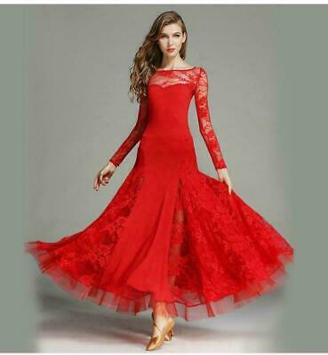 Elegant Women Latin Salsa Ballroom Dance Dress Waltz Tango Standard Dress