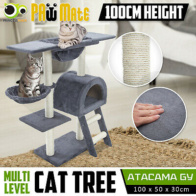 Cat Tree Scratching Post Scratcher Pole Gym House Furniture Multi Level 100cm GY