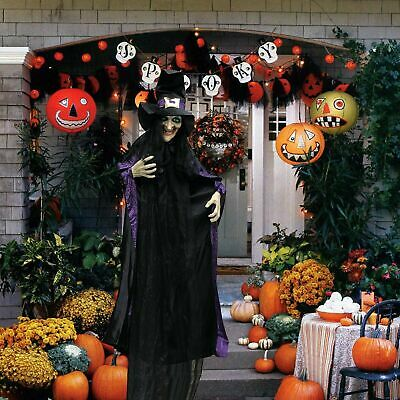 Life Size Animated Witch with LED Eyes and Spooky Sounds, Halloween Decorations