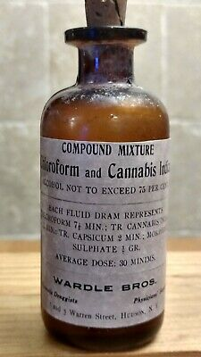 Vintage Medicine Hand Crafted Bottle, Wardle Bros. Chloroform & Cannabis