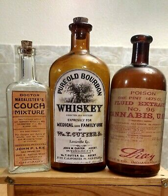 Vintage Family Medicine Hand Crafted Bottles, Cannabis, Medical Whiskey,Cough