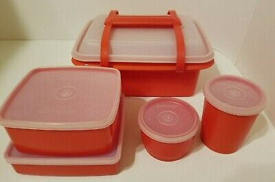 Vintage Tupperware Pak N Carry Lunchbox Orange 11 Piece Set With Containers Lids