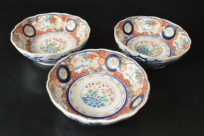 U5282: Japanese Old Imari-ware Flower pattern PLATE/Bowl/Dish 3pcs