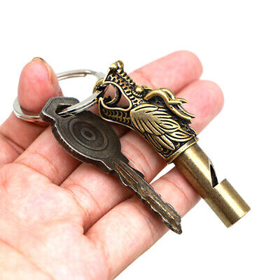 1pc Emergency Survival Brass Dragon Statue Pattern EDC Whistle KeyChain camp
