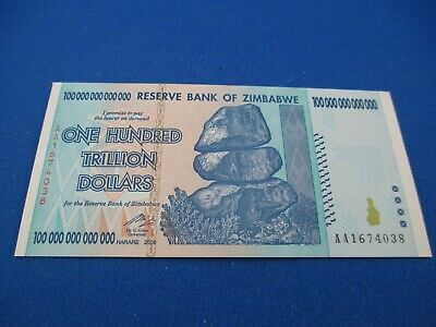 2008 ONE HUNDRED TRILLION DOLLARS - RESERVE BANK OF ZIMBABWE - UNC note