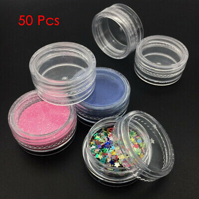 50Pc 3g Clear Small Plastic Empty Cosmetic Sample Pots Art Craft Storage Make-Up