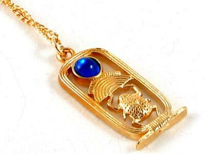 Scarab, Egyptian blue jewelled Handmade Gold Plated Pewter Pendant