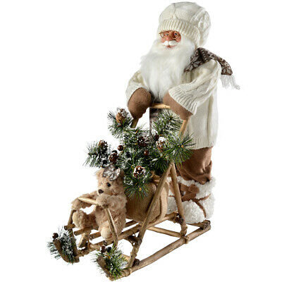 Traditional Santa & Sleigh Decoration White / Brown 50 cm