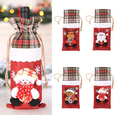 Snowman / Santa Claus Decoration Christmas Red Wine Bottle Cover Bags Home Party
