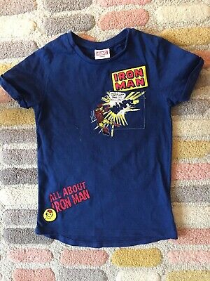 Boys Next Ironman Tshirt Age 7 Blue Excellent Condition