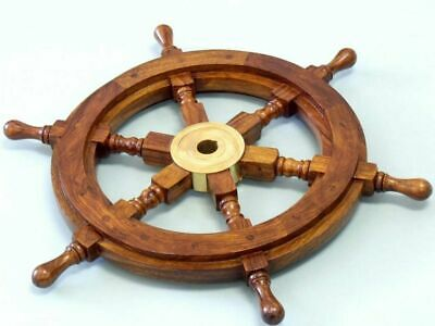 Nautical Boat Ship Wooden Steering Wheel Nautical Wall Decor 12 Inches