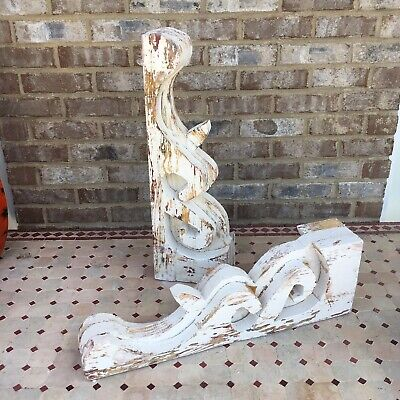 Pair Of Large Victorian Style Architectural Painted Wood Corbels Farmhouse Chic