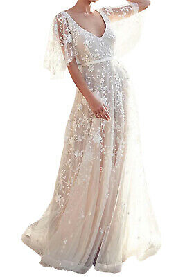 Women Boho V Neck Ruffle Sleeve Lace Floral Wedding Dress Size 8-20