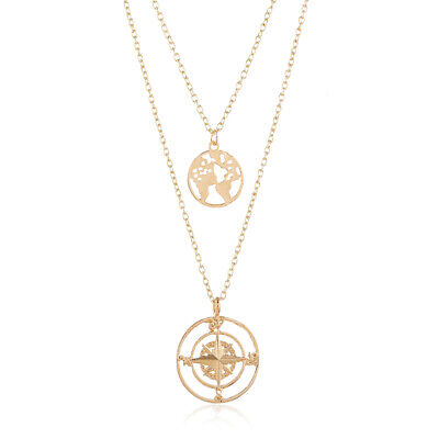 Fashion world map six-pointed star pendant multi-layer necklace chain Jewelry