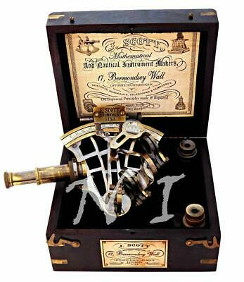 Antique Brass J. Scott Ship Sextant With Two Extra Telescope in Hardwood Box