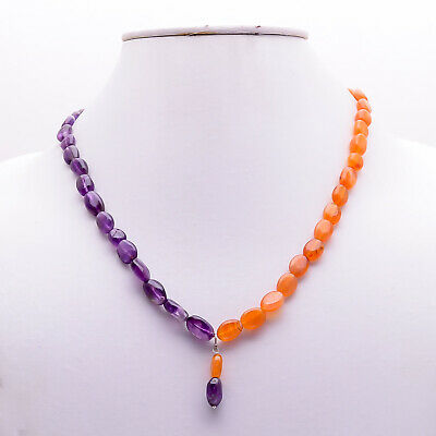 "Natural Carnelian Amethyst Gemstone Smooth Beads Necklace 19"" ZP-247"
