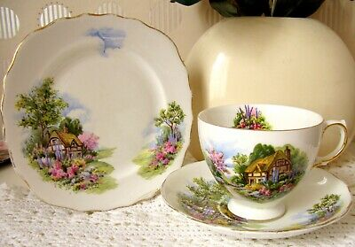 Vintage Royal Vale Bone China Tea Cup Saucer Side Plate Country Cottage Gold