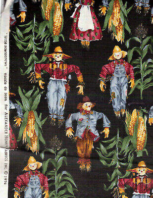 VTG Little Scarecrows Alexander Henry De Leon Cotton Halloween Fabric 44W X 36""