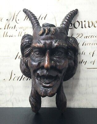 Antique Satyr Devil Carved French Oak Figure Plaque Architectural Salvage 80.2g