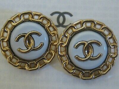 CHANEL 2 gold white BUTTONS lot of 2 sz 18mm  cc logo, two