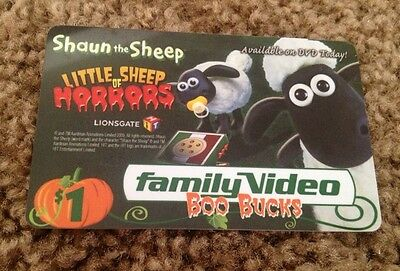 Family Video Store Shaun The Sheep Gift Card Collectible No Value New