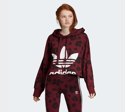 New Women ADIDAS Originals Bellista Allover Print Cropped Hoodie (EC1901) Maroon