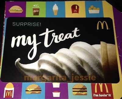"""McDonald's 2016 ARCH/GIFT CARD """"SURPRISE MY TREAT"""" SOFT ICE CREAM NO VALUE NEW"""