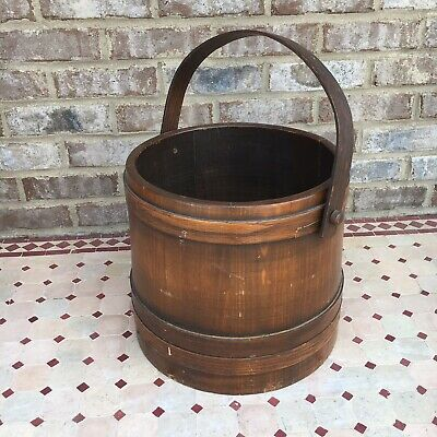 Primitive Wooden Bucket With Bail Handle Pale Planter Well Old Vintage Style
