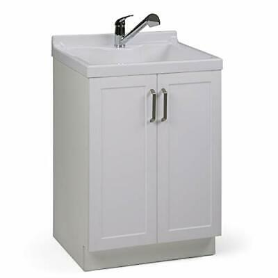 Simpli Home Kyle 24 inch Laundry Cabinet with Pull-out Faucet and ABS Sink