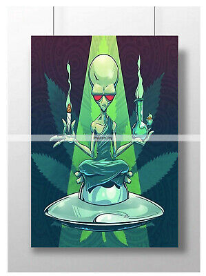 Trippy Psychedelic Alien Weed Marijuana Poster Art Print Image Size A3 A4