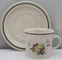 Royal Doulton Cornwall (Rim, Double Green Trim) Flat Cup & Saucer Set