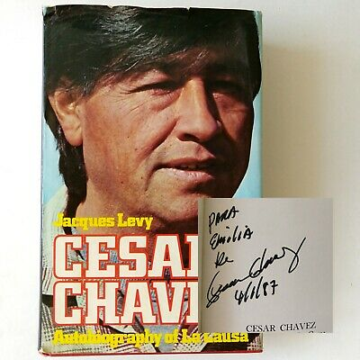 Autographed Cesar Chavez Autobiography 1987 Signed HB Book Vtg Latino History
