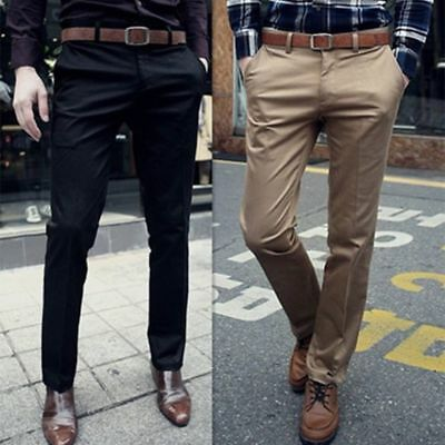 New Mens Formal Business Dress Pants Slim Fit Casual Straight Leg Trousers Suit