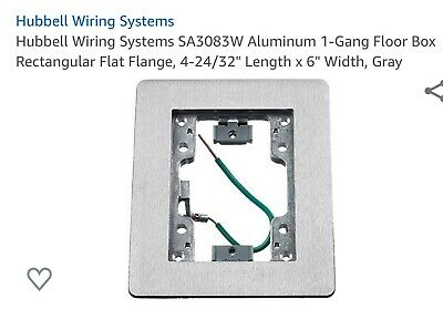Hubbell SA3083W Aluminum 1-Gang Floor Box Rectangular Flat Flange NEW