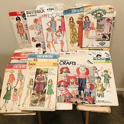 Sewing Patterns Lot Of 40+ Simplicity McCall's Butterick Cabbage Patch VTG Women