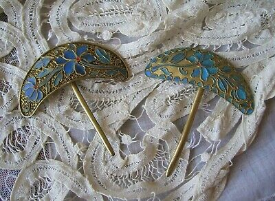 Pair Antique Chinese Kingfisher Feather Hair Pins Qing Dynasty Tian-Tsui.
