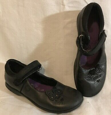 Girls Clarks Black Leather Lovely School Shoes Size 11.5F (475vv)