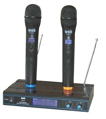 "RADIO MICROFONI PROFESSIONALI WIRELESS senza fili VHF ""PRO"" 3 DISPLAY karaoke dj"