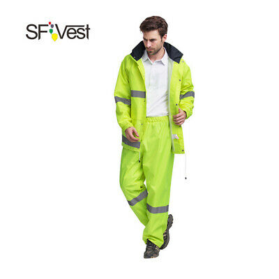 SFVest High Visibility Reflective Rainwear Suit Luminous Safety Raincoat E7V2