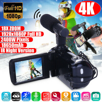 "4K Full HD 1080P 24MP 18X Zoom 3"" LCD Digital Camcorder Video DV Camera With Mic"