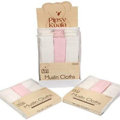 3 x Pipsy Koala Infant Baby Muslin Squares Cloths 100% Cotton Pink & White New