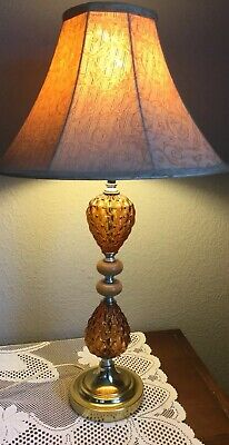 Vintage 70 S Amber Glass Table Lamp Brass Quilted Glass Oil