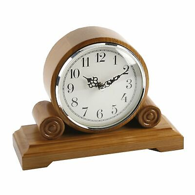 Barrel Shape Oak Finish Wooden Mantel Clock with Arabic Dial