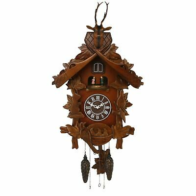 Qtz Cuckoo Clock - Lrg Wooden with Roundabout - 2 birds/Stag