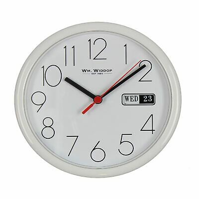 "Wm.Widdop Day/Date Wall Clock-White Case/White Dial 8.5""Rnd +B"