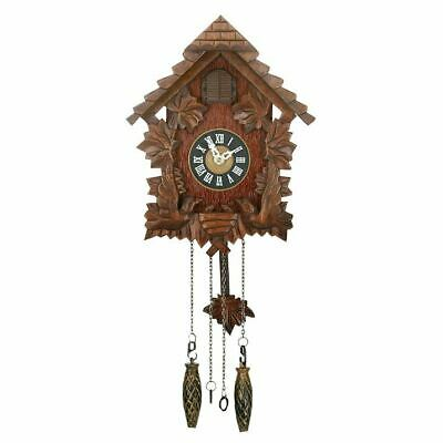 Antique Style Qtz Cuckoo Clock - Wooden - Pitched Roof Decor